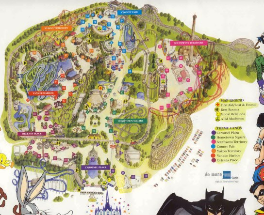 Map Of 6 Flags Great America.Six Flags Great America Map 2000